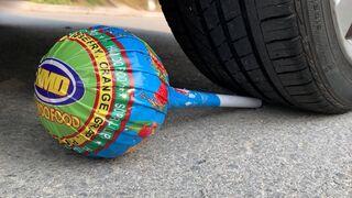 Experiment Car vs Big Chupa Chups, Lollipop   Crushing crunchy & soft things by car   Test Ex