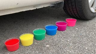 Experiment Car vs Liquids of Different Colors | Crushing crunchy & soft things by car | Test Ex