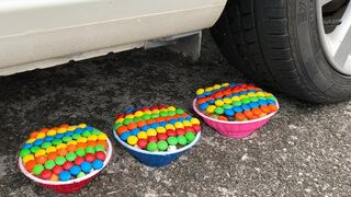 Experiment Car vs M&M Candy in Bowl | Crushing crunchy & soft things by car | Test Ex
