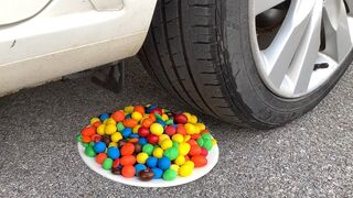 Experiment Car vs M&M Candy | Crushing crunchy & soft things by car | Test Ex