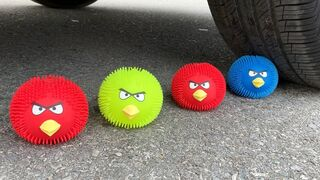 Experiment Car vs Angry Birds Doodles and Balloons | Crushing Crunchy & Soft Things by Car | Test S