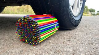 EXPERIMENT: CAR vs WOODEN CRAYONS - Crushing Crunchy & Soft Things by Car!