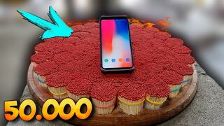 EXPERIMENT 50,000 SAFETY MATCHES vs EXWORLD'S TOP INDESTRUCTIBLE PHONE