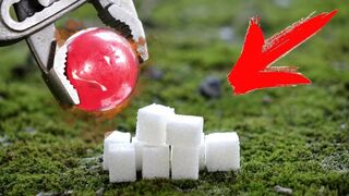 EXPERIMENT: Glowing 1000 DEGREE METAL BALL vs SUGAR!