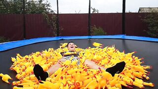 1000 Screaming Chicken Toys in My Trampoline!