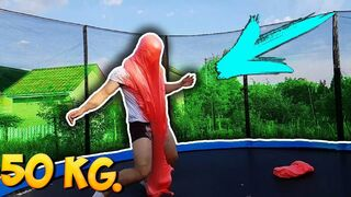 JUMPING ON A GIANT FLUFFY SLIME LYING ON A TRAMPOLINE! 50KG FLUFFY SLIME!