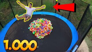 1000 WATER BALLOONS ON TRAMPOLINE
