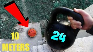 What if I drop a Kettlebell on a Basketball from the fifth floor? Will it bounce?