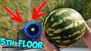 WHAT IF YOU DROP A WATERMELON ON A TRAMPOLINE?!? TRAMPOLINE CHALLENGE!!