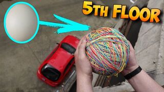 DROPPED A RUBBER BANDS OSTRICH EGG ON MY CAR... BUT SOMETHING WENT WRONG...