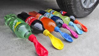 Experiment Car vs Coca Cola, Fanta, Pepsi, Sprite vs Mentos | Crushing Crunchy & Soft Things by Car!