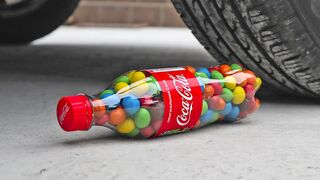 Crushing Crunchy & Soft Things by Car! Experiment: Car vs M&M Candies & Cola & Food