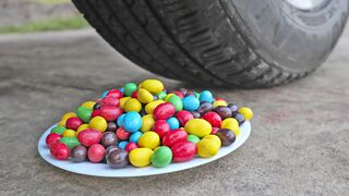Crushing Crunchy & Soft Things by Car! Experiment: Car vs M&M Candy Plate