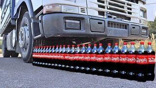 Crushing Crunchy & Soft Things by Truck! EXPERIMENT: Truck vs Coca Cola, Fanta, Mirinda Balloons