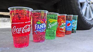 EXPERIMENT: Car vs Coca Cola, Fanta, Mirinda Balloons   Crushing Crunchy & Soft Things by Car!