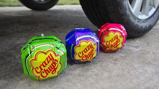 Experiment: Car Vs Giant Chupa Chups   Crushing Crunchy & Soft Things by Car!