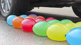 Experiment: Car vs Water Balloons   Crushing Crunchy & Soft Things by Car!