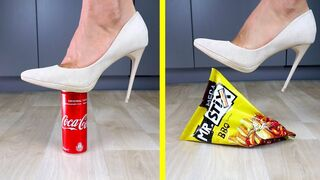 Crushing Crunchy & Soft Things by Car. EXPERIMENT: Shoes vs Food & Coca Cola