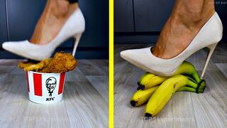 Crushing Crunchy & Soft Things by Shoes. EXPERIMENT: Shoes vs Fast Food & Cake