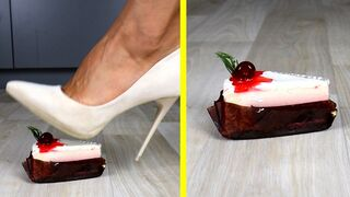 Crushing Crunchy & Soft Things by Shoes. Experiment: Shoes vs Food (Cake, Ice Cream & Jelly)
