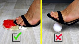 Crushing Crunchy & Soft Things by Shoes. Experiment: Women Shoes vs Eggs