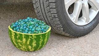 EXPERIMENT Car vs WATERMELON MARBLES Crushing Crunchy & Soft Things by Car