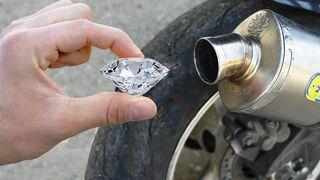 EXPERIMENT HUGE DIAMOND in 100°C MOTORCYCLE EXHAUST