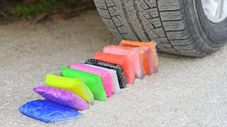 EXPERIMENT Car vs COLORFUL SLIMES Crushing Crunchy & Soft Things by Car