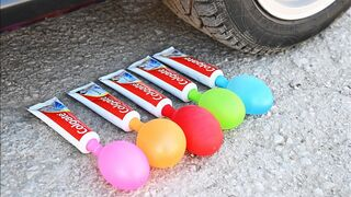 EXPERIMENT Car vs Toothpaste and Balloons Crushing Crunchy & Soft Things by Car