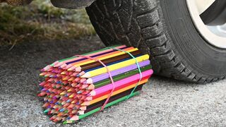 EXPERIMENT Car vs Wooden Crayons Crushing Crunchy & Soft Things by Car!