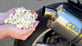 EXPERIMENT MAKING POPCORN IN MOTORCYCLE EXHAUST