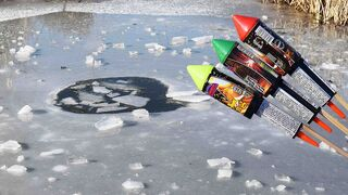 EXPERIMENT ROCKETS FIREWORKS UNDER ICE!