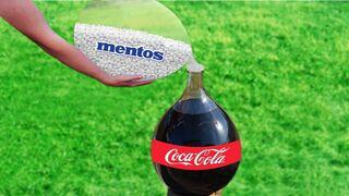 EXPERIMENT COCA COLA & MENTOS IN GLASS BALLOON