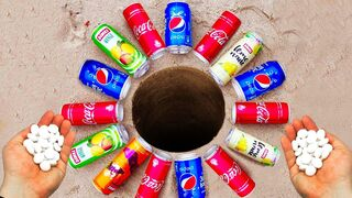 EXPERIMENT !! Coca Cola, Sprite, Fanta & Other Carbonated Soft Drinks Vs Mentos Underground