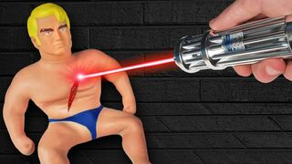 EXPERIMENT: Most Powerful Laser VS Stretch Armstrong