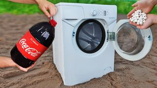 Experiment: Coca Cola and Mentos into Washer