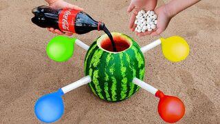 Coca Cola & Mentos Vs Watermelon with Balloons
