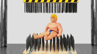 Stretch Armstrong Between Nail Beds (Hydraulic Press Experiment)