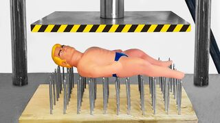 Stretch Armstrong on Nail Beds (Hydraulic Press Experiment)