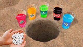 Experiment: Coca Cola, Mirinda, Fanta, Sprite and Mentos Underground!