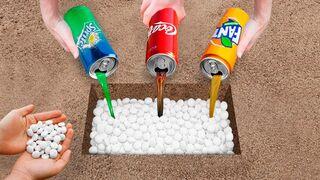 Test Sprite, Coke, Fanta and Mentos Underground!