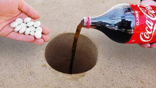 Experiment: Coca Cola and Mentos Underground