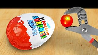 Experiment: Glowing 1000 Degree Metal Ball VS Big Kinder Surprise