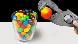 Experiment: Glowing 1000 Degree Metal Ball Vs Candy