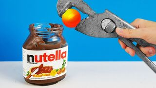 Experiment: Glowing 1000 Degree Metal Ball Vs Nutella