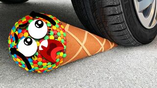 Experiment Car vs M&M Icecream Toy, Candy Mentos| Crushing Crunchy & Soft Things by Car- Woa Doodles