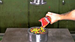 Can you turn Skittles Candy into Rock with the Hydraulic Press?