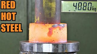 How Strong is Red Hot Steel? Hydraulic Press Test!