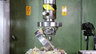 Crushing Stuffed Steel Pipes with Hydraulic Press   ODDLY SATISFYING!