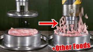 Pressing Meat Through Small Holes with Hydraulic Press   in 4K